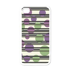 Purple and green elegant pattern Apple iPhone 4 Case (White)