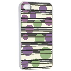 Purple and green elegant pattern Apple iPhone 4/4s Seamless Case (White)