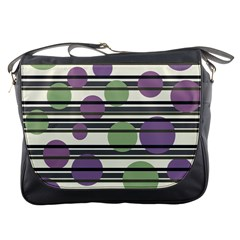 Purple and green elegant pattern Messenger Bags