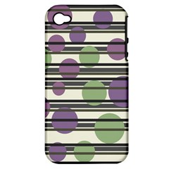 Purple and green elegant pattern Apple iPhone 4/4S Hardshell Case (PC+Silicone)