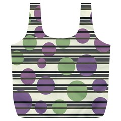 Purple and green elegant pattern Full Print Recycle Bags (L)