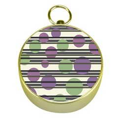 Purple and green elegant pattern Gold Compasses