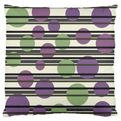 Purple and green elegant pattern Large Flano Cushion Case (Two Sides)