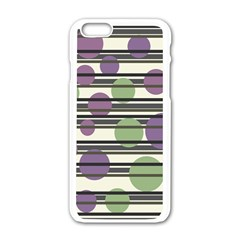 Purple and green elegant pattern Apple iPhone 6/6S White Enamel Case
