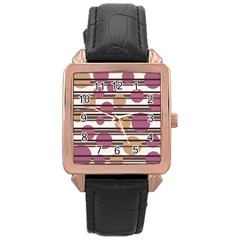 Simple decorative pattern Rose Gold Leather Watch