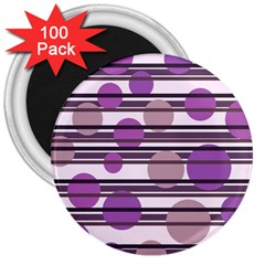 Purple simple pattern 3  Magnets (100 pack)