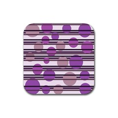 Purple simple pattern Rubber Square Coaster (4 pack)