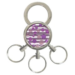 Purple simple pattern 3-Ring Key Chains