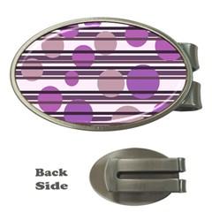 Purple simple pattern Money Clips (Oval)