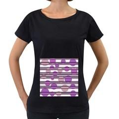 Purple simple pattern Women s Loose-Fit T-Shirt (Black)