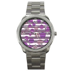 Purple simple pattern Sport Metal Watch