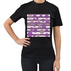 Purple simple pattern Women s T-Shirt (Black)