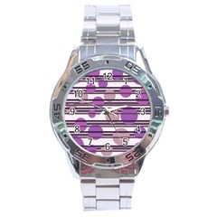 Purple simple pattern Stainless Steel Analogue Watch