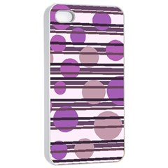 Purple simple pattern Apple iPhone 4/4s Seamless Case (White)