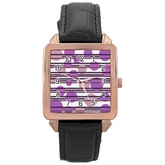 Purple simple pattern Rose Gold Leather Watch