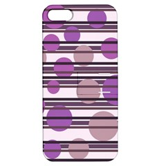 Purple Simple Pattern Apple Iphone 5 Hardshell Case With Stand