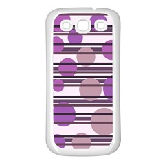 Purple simple pattern Samsung Galaxy S3 Back Case (White)