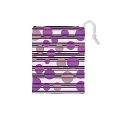 Purple simple pattern Drawstring Pouches (Small)