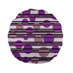 Purple simple pattern Standard 15  Premium Flano Round Cushions