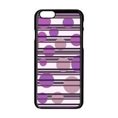 Purple simple pattern Apple iPhone 6/6S Black Enamel Case