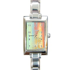 Unique abstract in green, blue, orange, gold Rectangle Italian Charm Watch