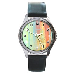 Unique abstract in green, blue, orange, gold Round Metal Watch