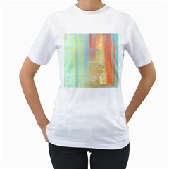 Unique abstract in green, blue, orange, gold Women s T-Shirt (White) (Two Sided)