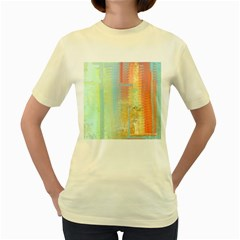 Unique abstract in green, blue, orange, gold Women s Yellow T-Shirt