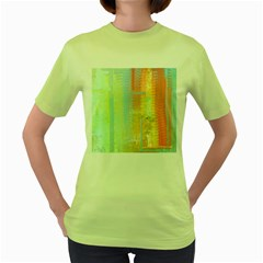 Unique abstract in green, blue, orange, gold Women s Green T-Shirt