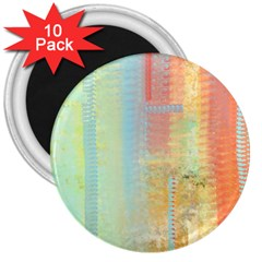 Unique abstract in green, blue, orange, gold 3  Magnets (10 pack)