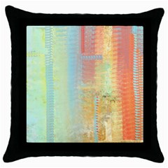 Unique abstract in green, blue, orange, gold Throw Pillow Case (Black)
