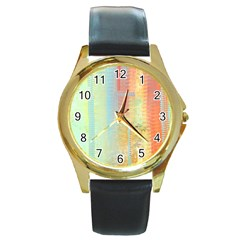 Unique abstract in green, blue, orange, gold Round Gold Metal Watch