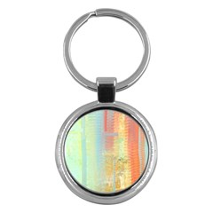 Unique abstract in green, blue, orange, gold Key Chains (Round)