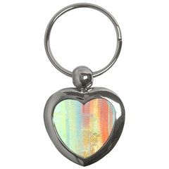 Unique abstract in green, blue, orange, gold Key Chains (Heart)