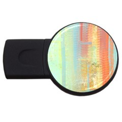Unique abstract in green, blue, orange, gold USB Flash Drive Round (2 GB)