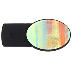 Unique abstract in green, blue, orange, gold USB Flash Drive Oval (1 GB)