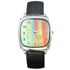Unique Abstract In Green, Blue, Orange, Gold Square Metal Watch