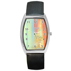 Unique abstract in green, blue, orange, gold Barrel Style Metal Watch