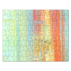 Unique abstract in green, blue, orange, gold Rectangular Jigsaw Puzzl
