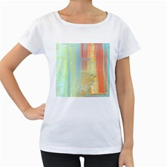 Unique abstract in green, blue, orange, gold Women s Loose-Fit T-Shirt (White)