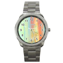 Unique abstract in green, blue, orange, gold Sport Metal Watch