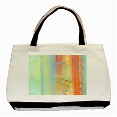 Unique abstract in green, blue, orange, gold Basic Tote Bag
