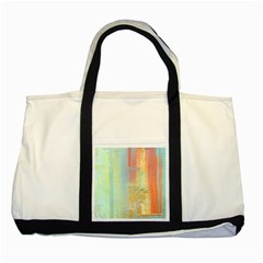 Unique abstract in green, blue, orange, gold Two Tone Tote Bag