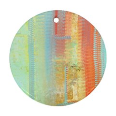 Unique Abstract In Green, Blue, Orange, Gold Round Ornament (two Sides)