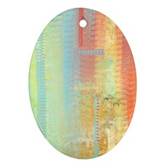Unique abstract in green, blue, orange, gold Oval Ornament (Two Sides)