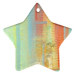 Unique abstract in green, blue, orange, gold Star Ornament (Two Sides)