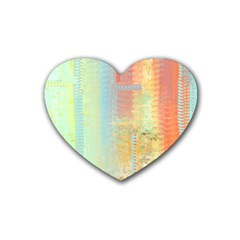 Unique abstract in green, blue, orange, gold Heart Coaster (4 pack)