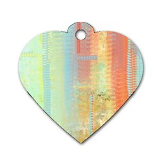 Unique abstract in green, blue, orange, gold Dog Tag Heart (Two Sides)