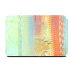 Unique abstract in green, blue, orange, gold Small Doormat