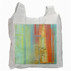 Unique abstract in green, blue, orange, gold Recycle Bag (Two Side)